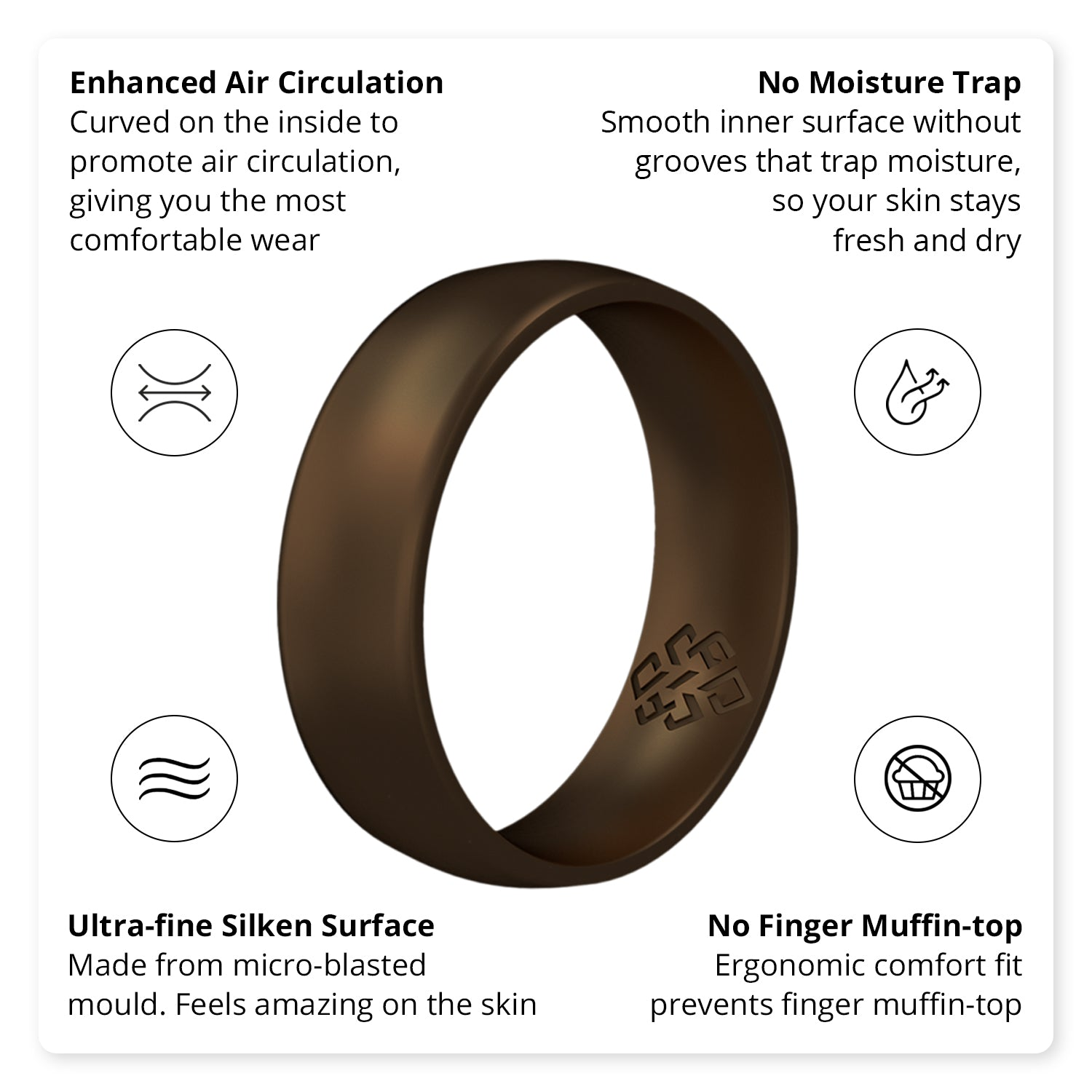 Dark Bronze Breathable Silicone Ring For Men