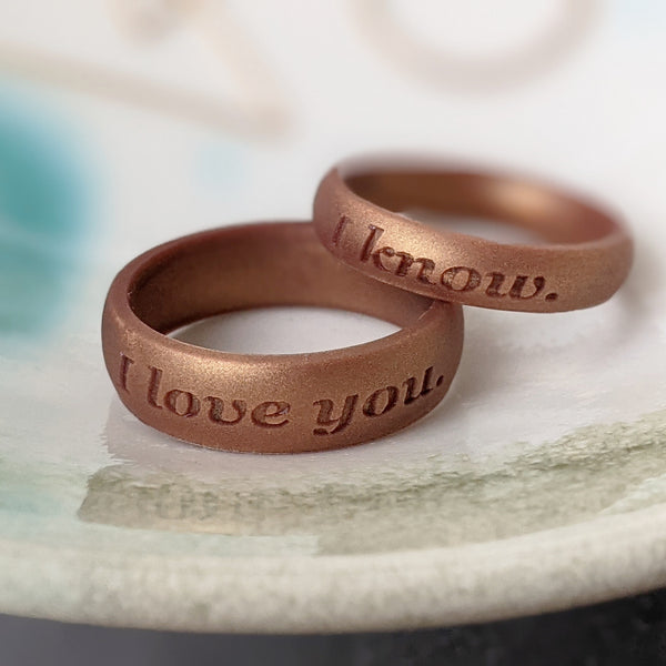 Custom Engraved Antique Gold Silicone Rings for Men and Women - Thoughtful Valentine's Day Gift