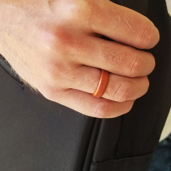 Copper Bevel Comfort Fit Silicone Ring Man