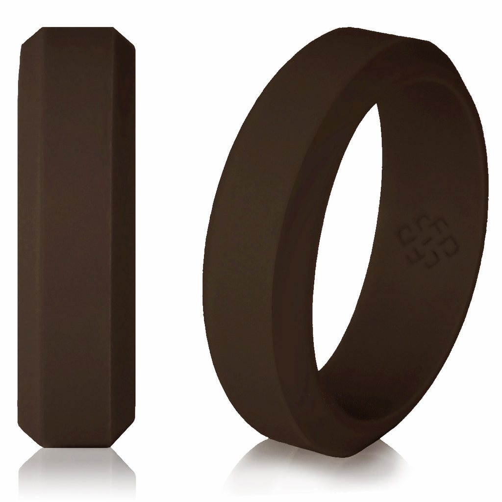 Knot Theory Athletic Silicone Wedding Rings in Espresso Brown - 6mm or 8mm Bandwidth
