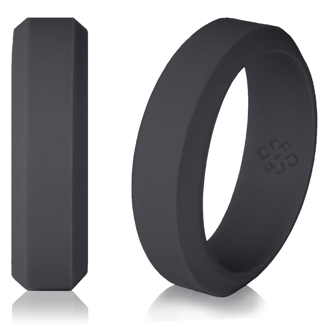 Silicone Wedding Ring.Dark Grey Silicone Rings