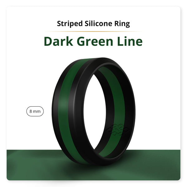 Dark Green Striped Silicone Ring Man Woman