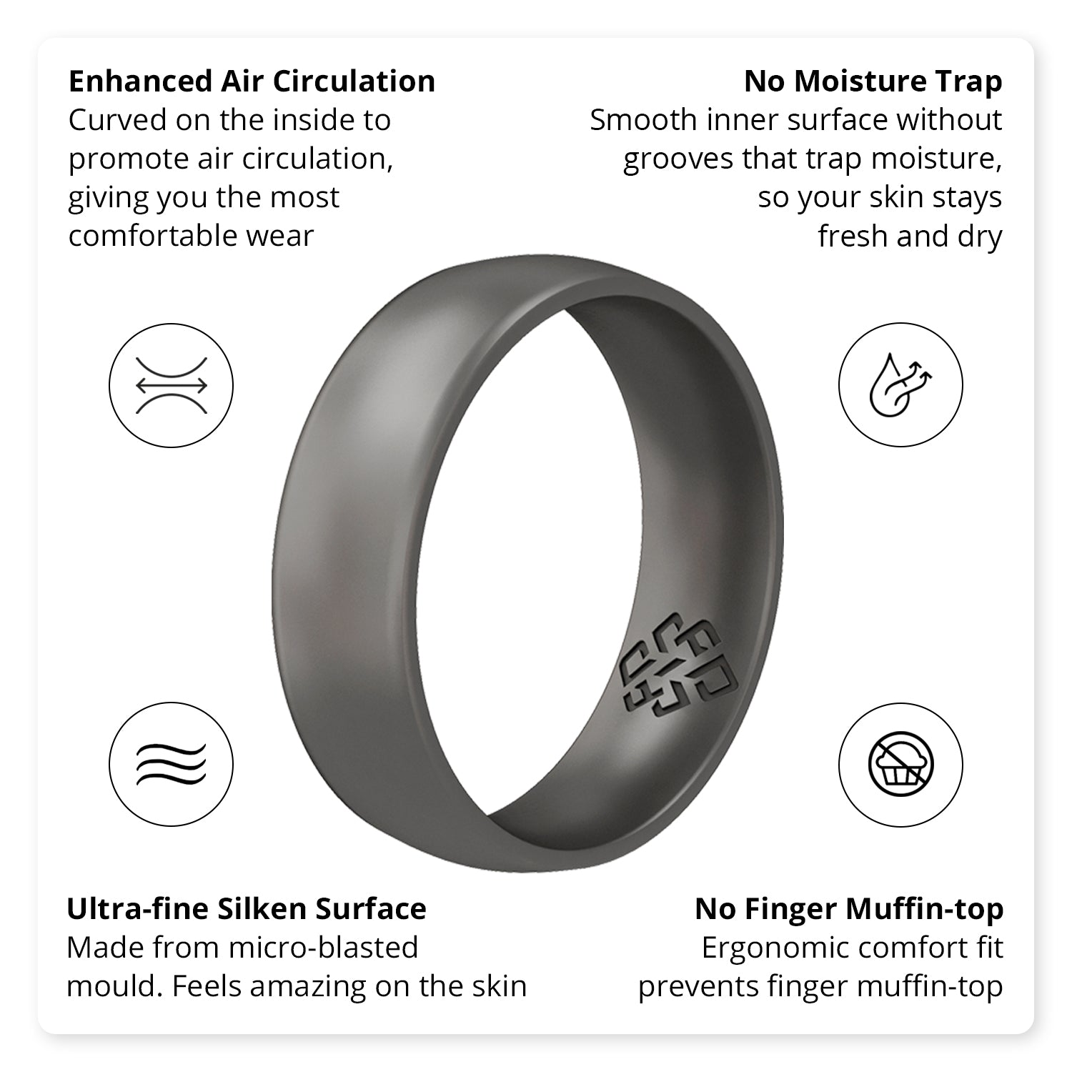 Dark Silver Comfort Fit Silicone Wedding Ring for Men, 6mm Band