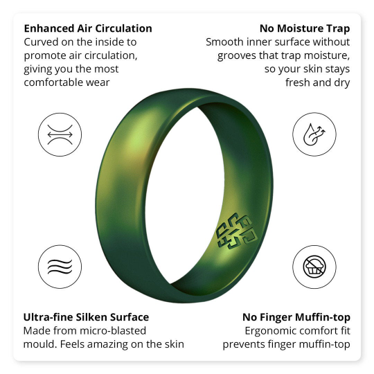 Celtic Knot Engraved Silicone Ring for Men in Northern Lights