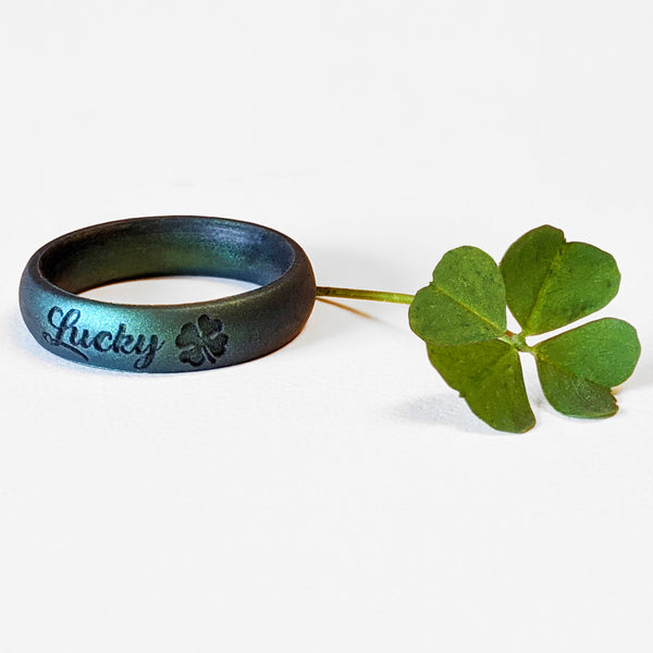 St. Patrick's Day Lucky Clover Silicone Ring in Enchanted Forest Green Engraved