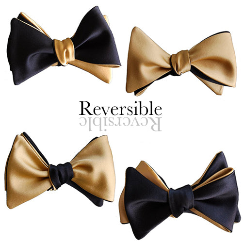 Black and Gold 4-way Butterfly Self-tying Bow Tie