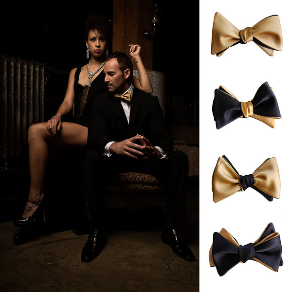 Black & Gold Butterfly Bow Tie
