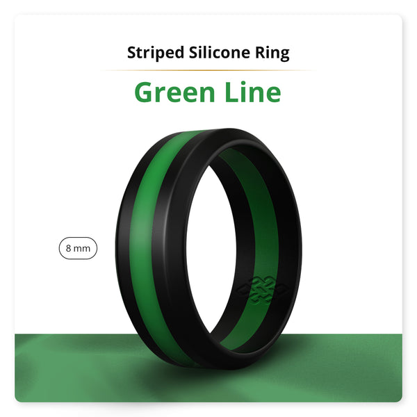 Bright Green Striped Silicone Ring Man