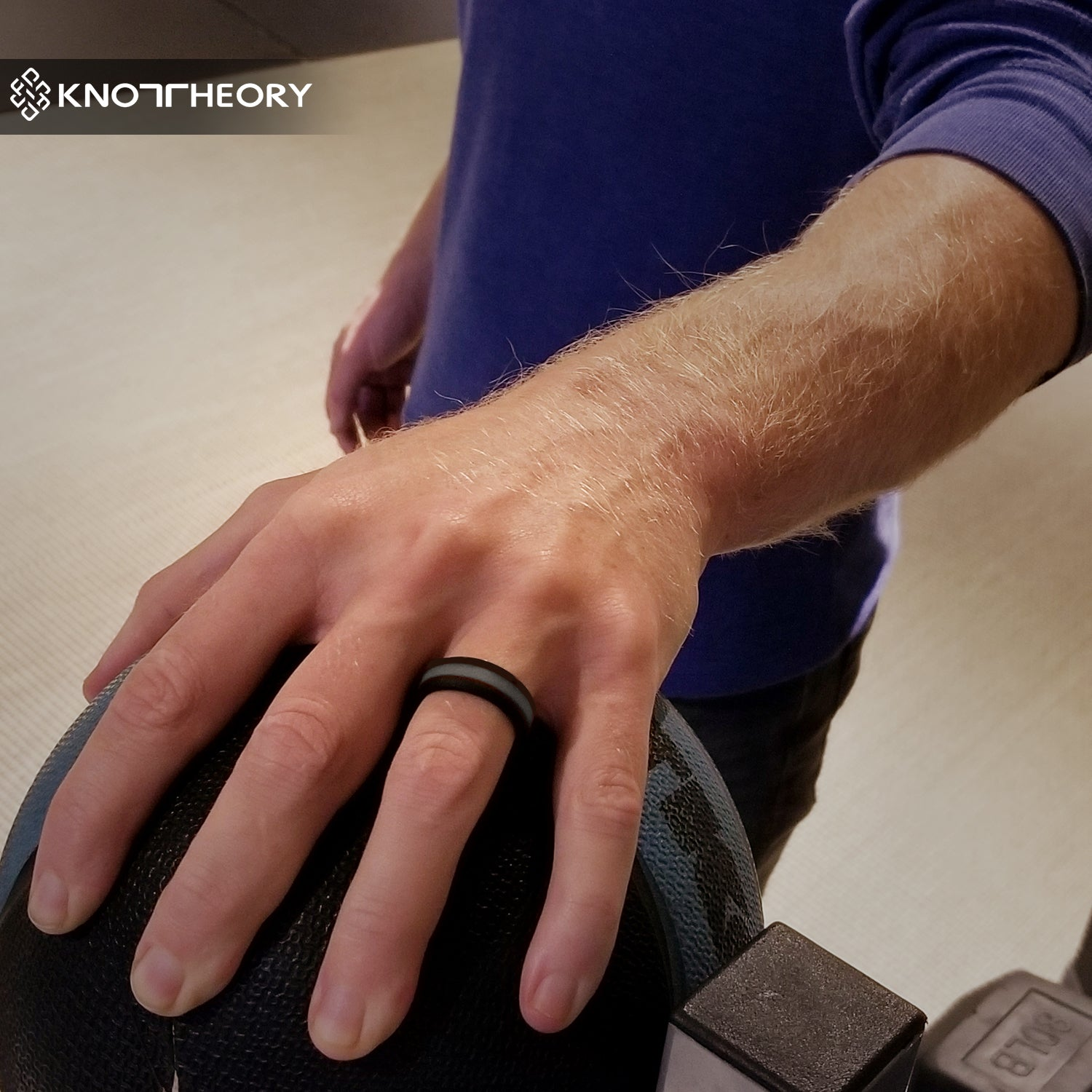Dark Grey Striped Silicone Ring Man