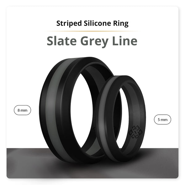 Dark Grey Striped Silicone Ring Man Woman