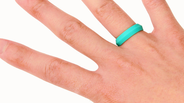 Teal Turquoise K-Edge Silicone Ring for Women