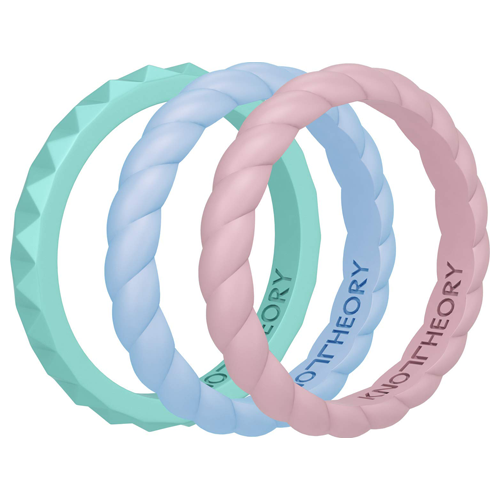 Happiness Stackable Silicone Wedding Rings for Women - 3-Pack in Pink, Blue, Turquoise
