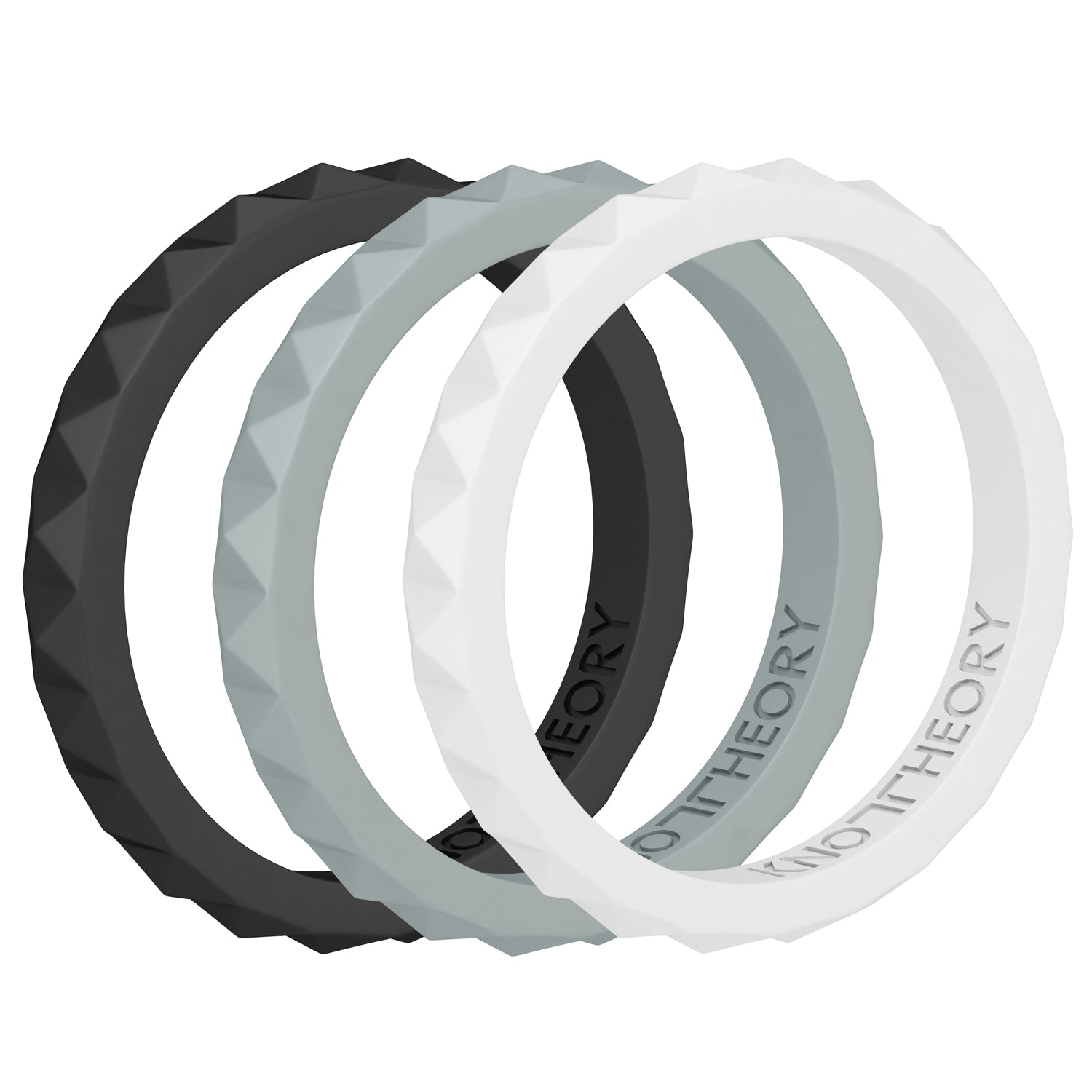 Harmony Stackable Silicone Wedding Rings for Women - 3-Pack in Black, White, Grey