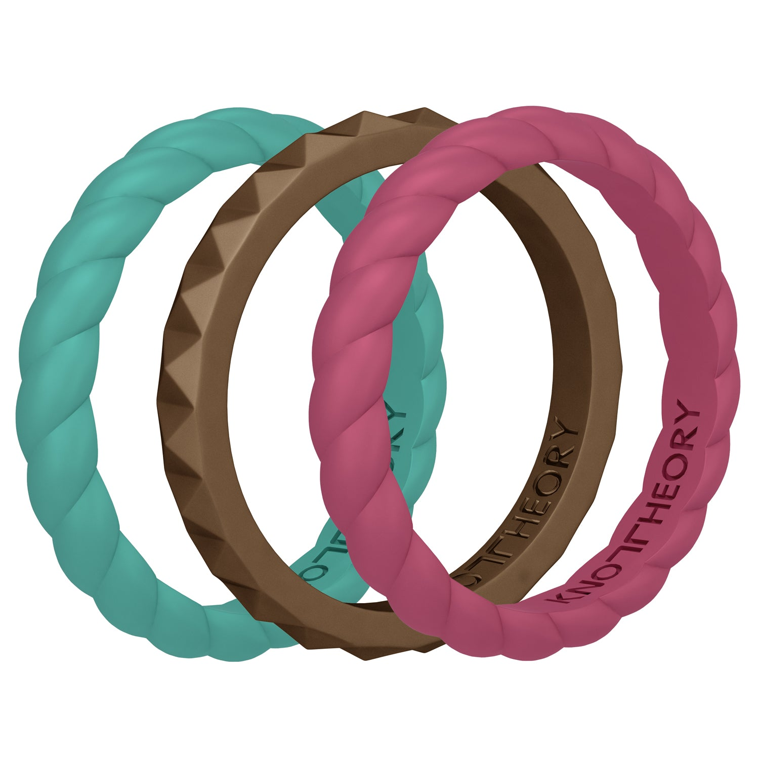 JOY Stackable Silicone Wedding Rings for Women - 3-Pack in Teal, Raspberry, and Antique Gold