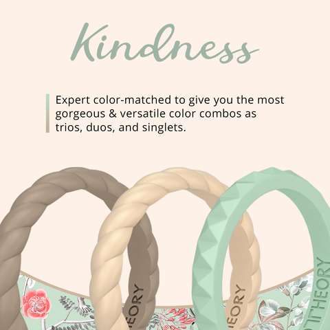 Kindness Stackable Silicone Rings 3-Pack Woman