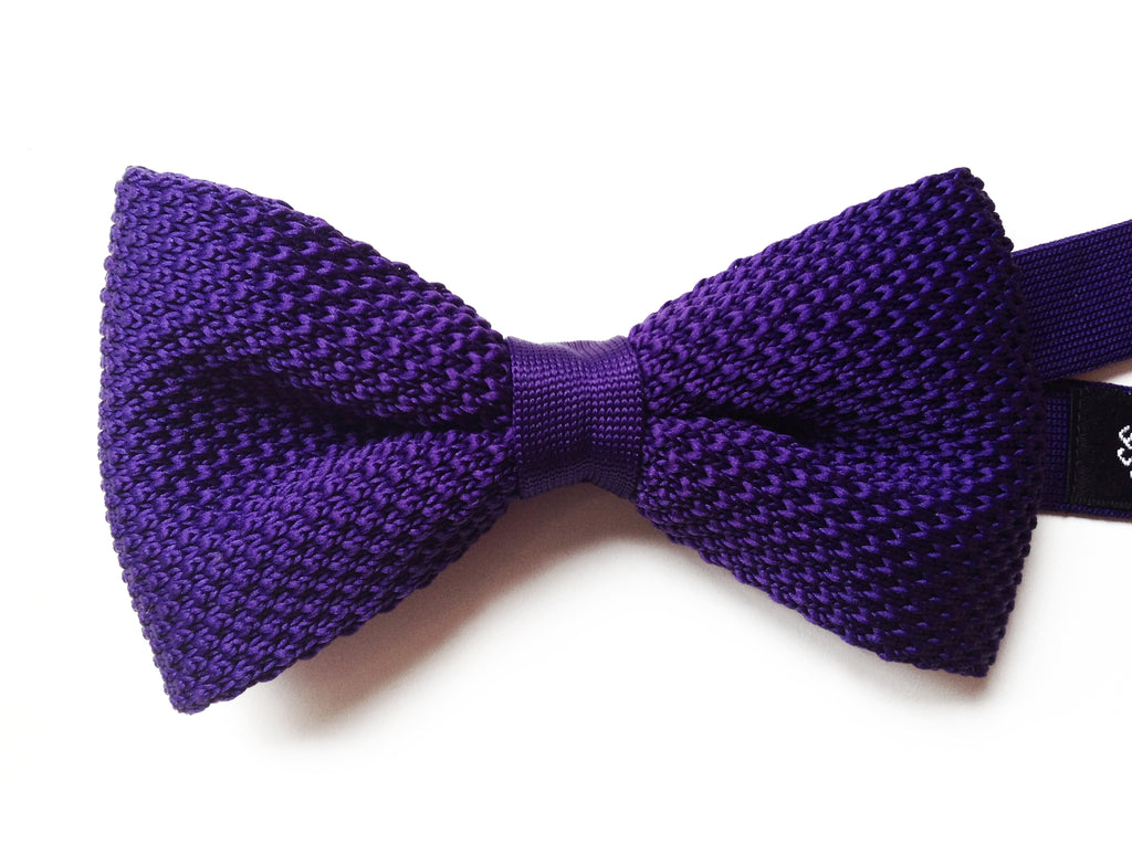 Purple Knitted Pre-tied Bow Tie