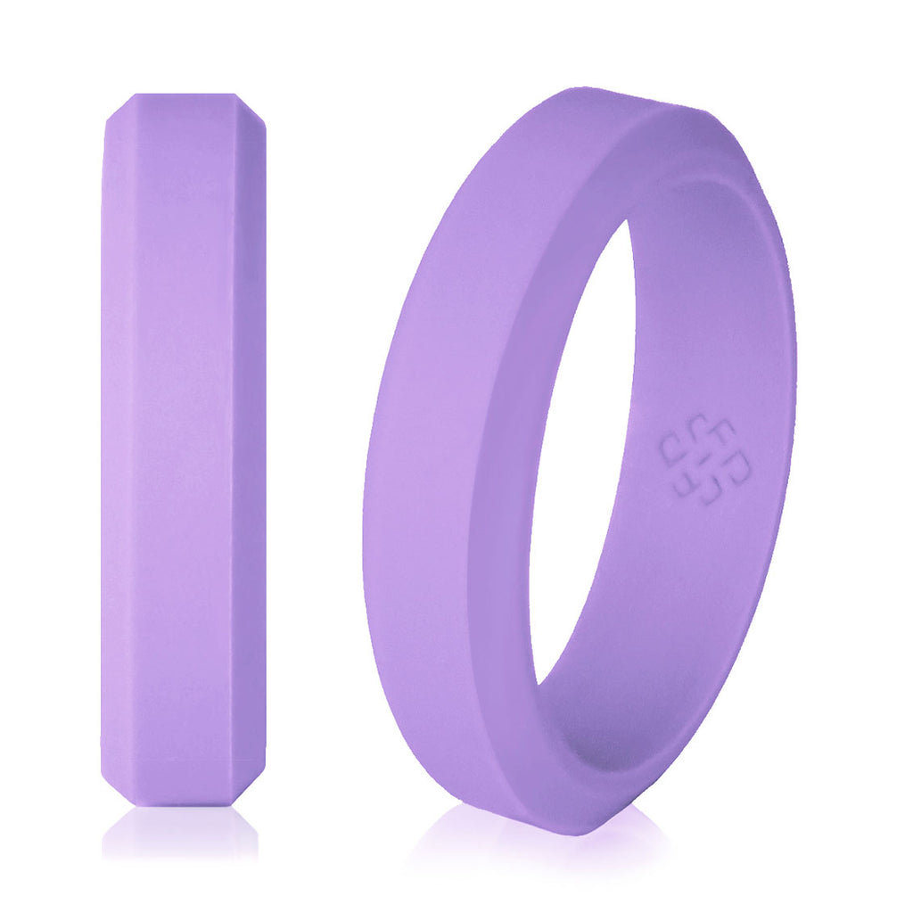 Knot Theory Elegant Lavender Purple Silicone Wedding Rings for Woman 5mm Bandwidth