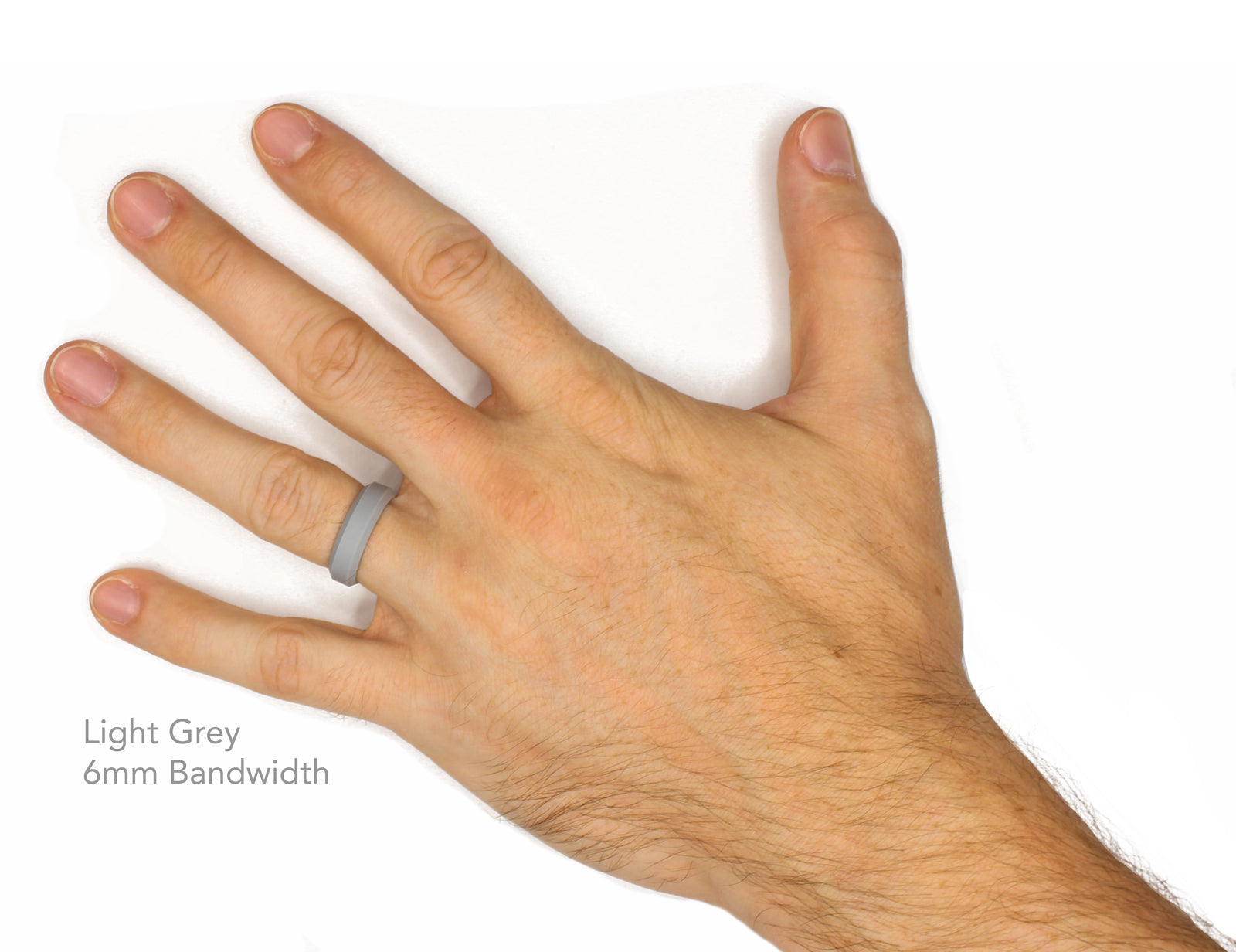 Knot Theory Non-Bulky Silicone Wedding Band in Light Grey - 6mm or 8mm Bandwidth