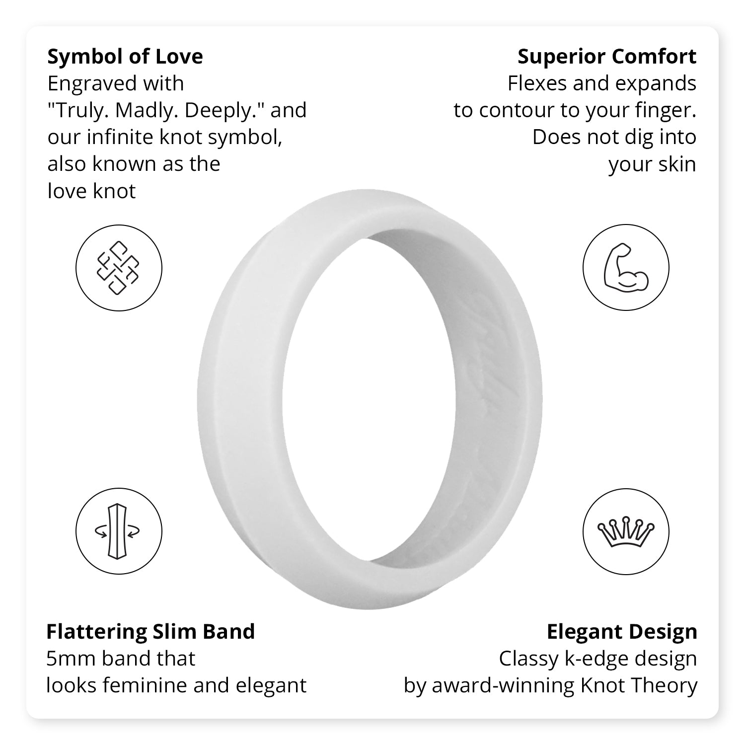 Light Grey K-Edge Silicone Ring Woman