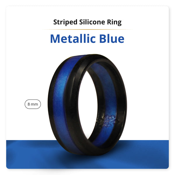 Blue Metallic Striped Silicone Ring Man