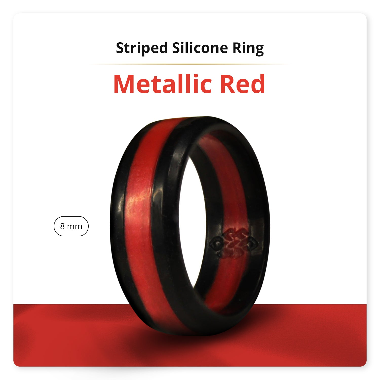 Red Metallic Striped Silicone Ring Man