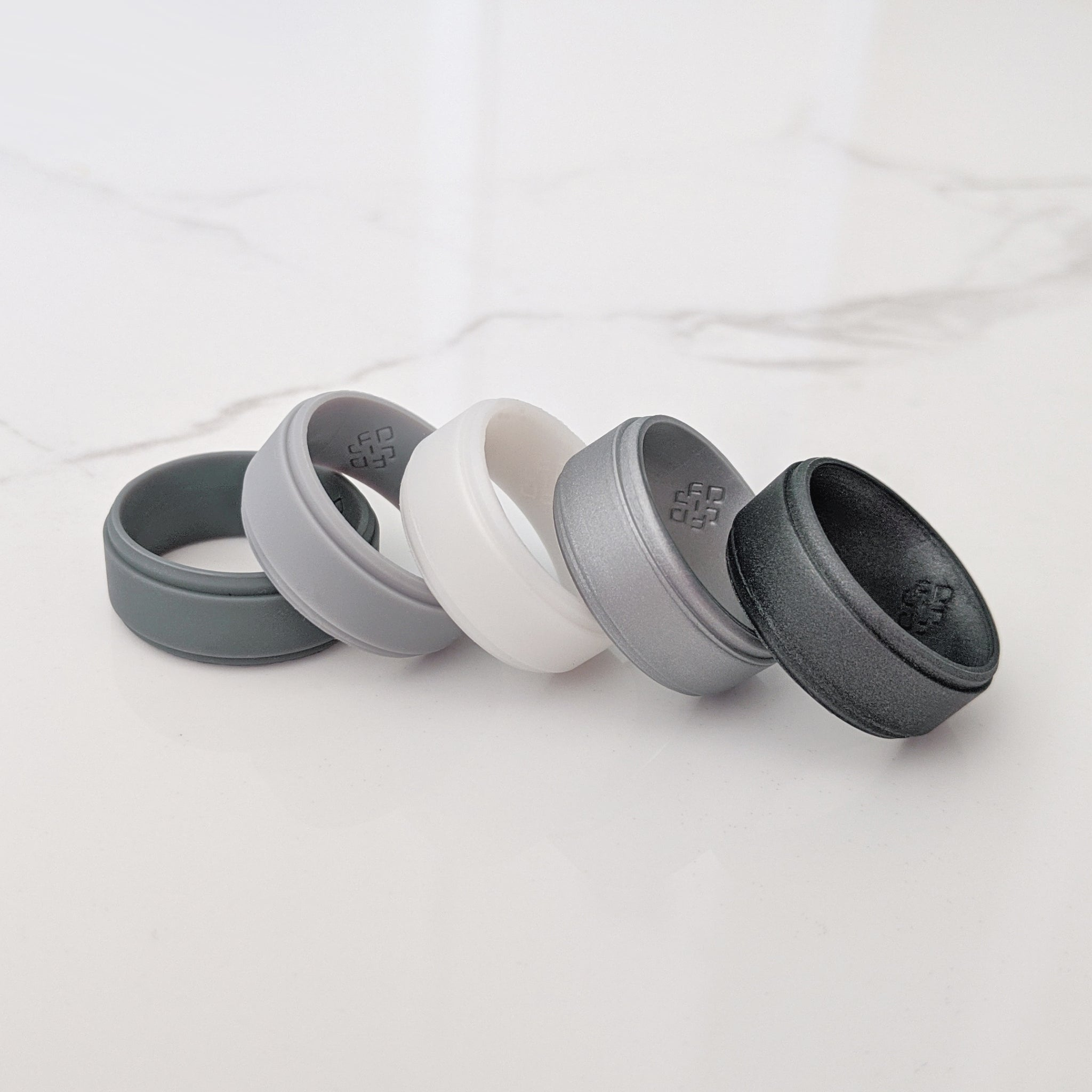 Dark Silver Step Edge Breathable Silicone Ring for Men