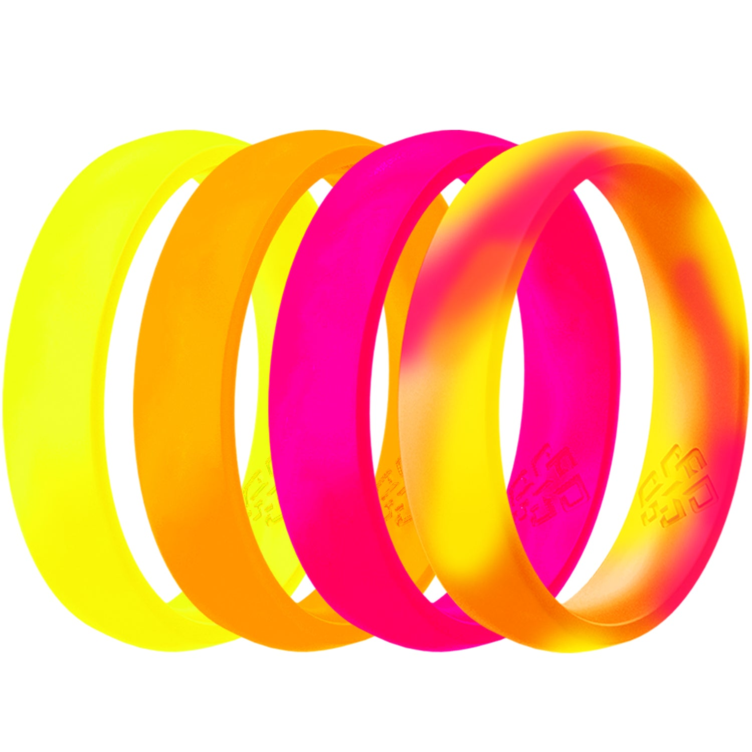 Neon Pink Orange Yellow 4-Pack Breathable Silicone Ring