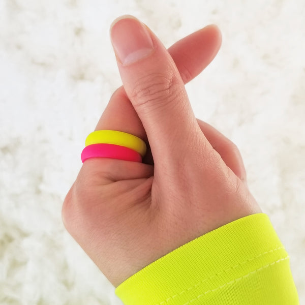 Neon Hot Pink Comfort Fit Silicone Ring for Women