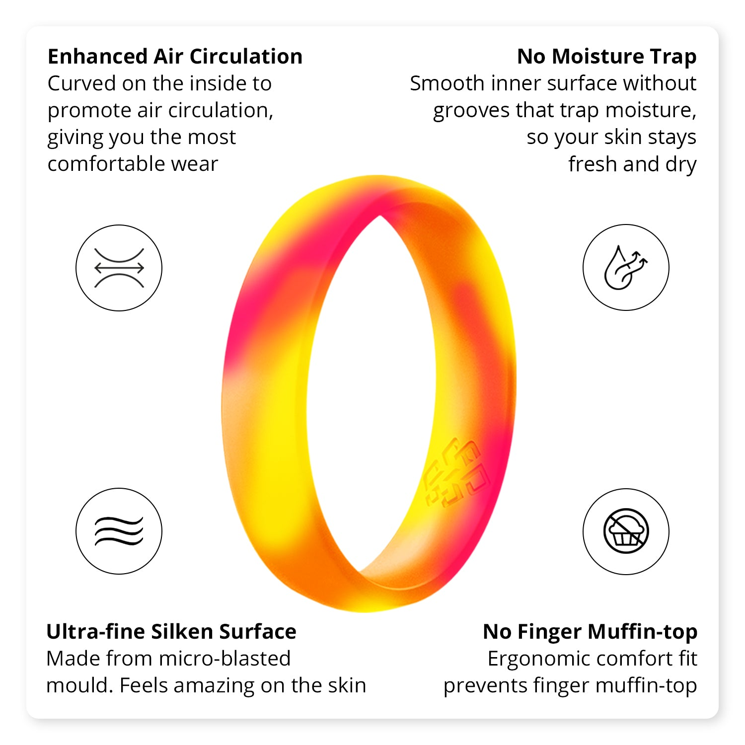 Neon 4-Pack Comfort Fit Breathable Silicone Rings