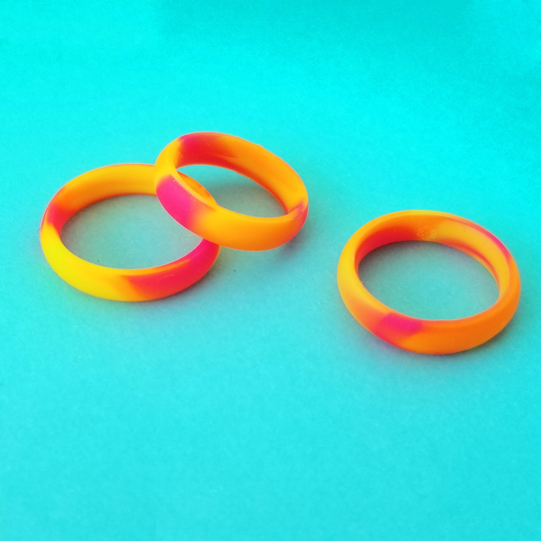 Neon Orange Yellow Pink Swirl Silicone Ring for Women