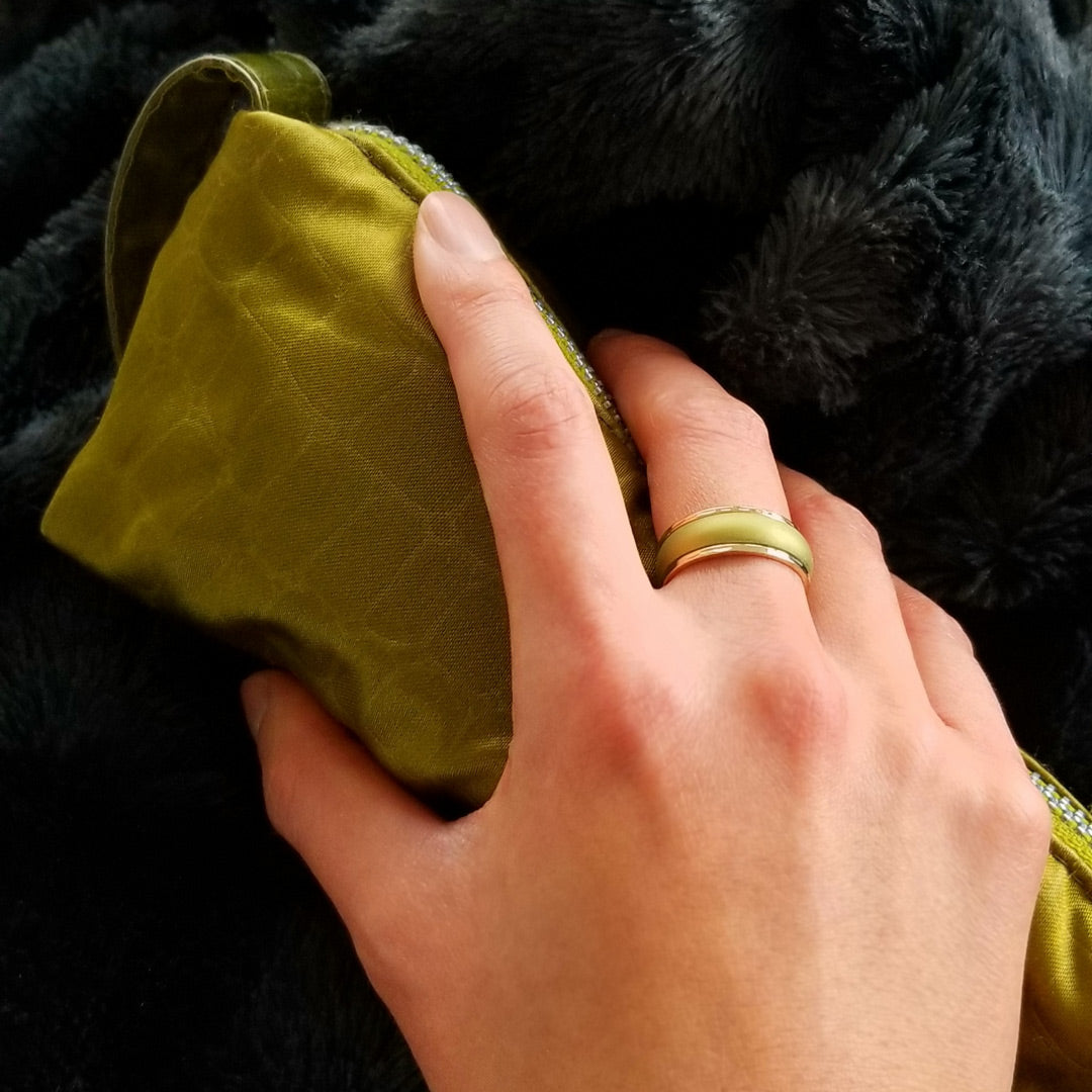 Pearly Olive Comfort Fit Silicone Wedding Ring
