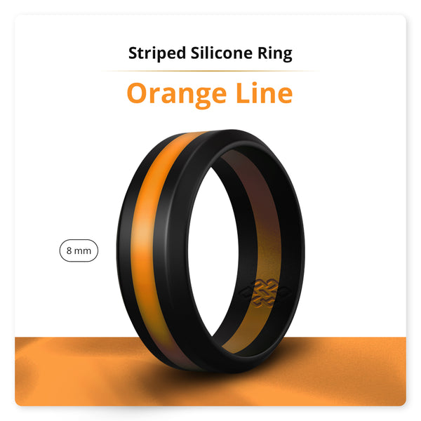 Orange Striped Silicone Ring Man