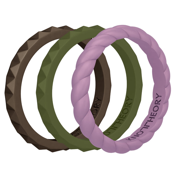 PASSION Stackable Silicone Wedding Rings for Women - 3-Pack in Bronze Gold, Purple, and Army Green