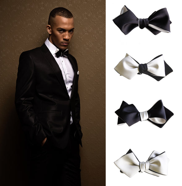 Black White Diamond Point Bow Tie