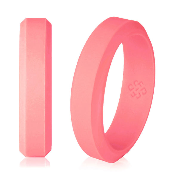 Knot Theory Elegant Pink Silicone Wedding Rings for Woman 5mm or 6mm Bandwidth
