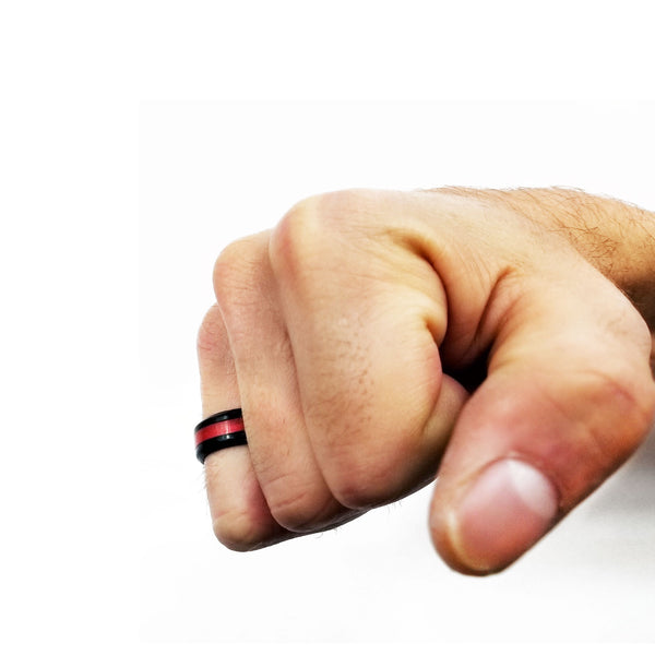 Red Metallic Striped Silicone Ring