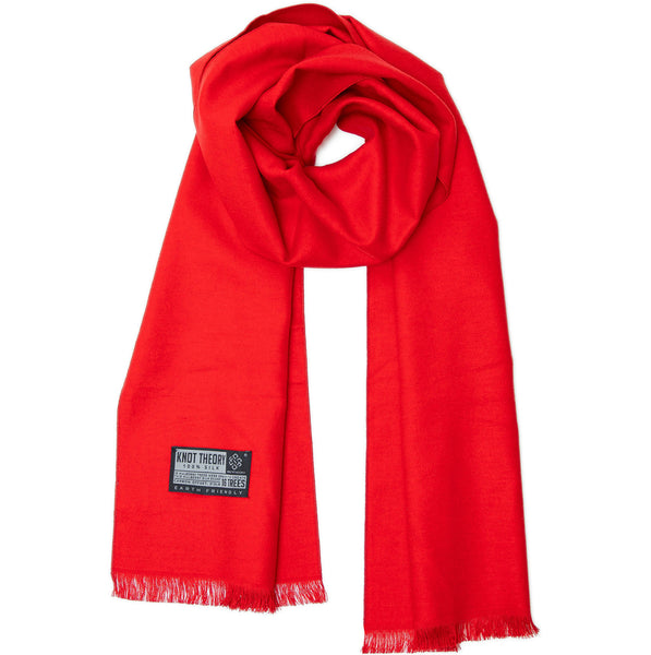 Red Eco Winter Scarf - Softer than Cashmere 100% Silk