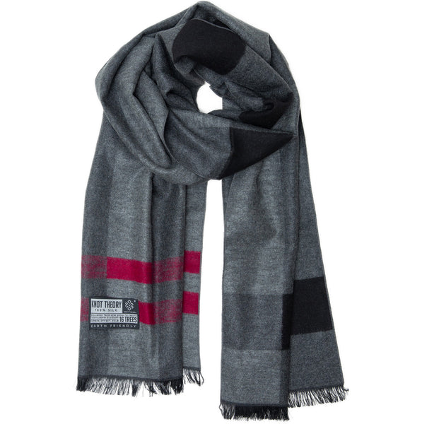 Red Grey Tartan Eco Winter Scarf - Softer than Cashmere 100% Silk