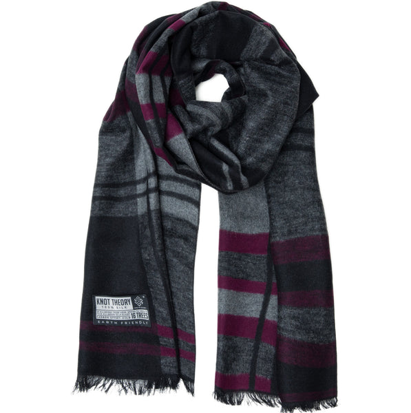 Purple Grey Tartan Eco Winter Scarf - Softer than Cashmere 100% Silk