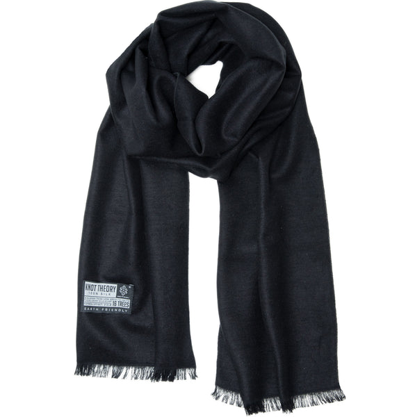 Black Silk Winter Scarf - Softer than Cashmere 100% Silk