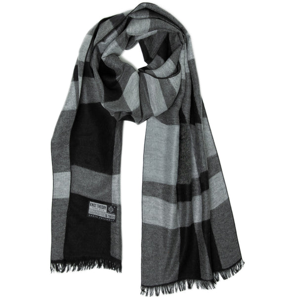 Black Grey Tartan Eco Winter Scarf - Softer than Cashmere 100% Silk