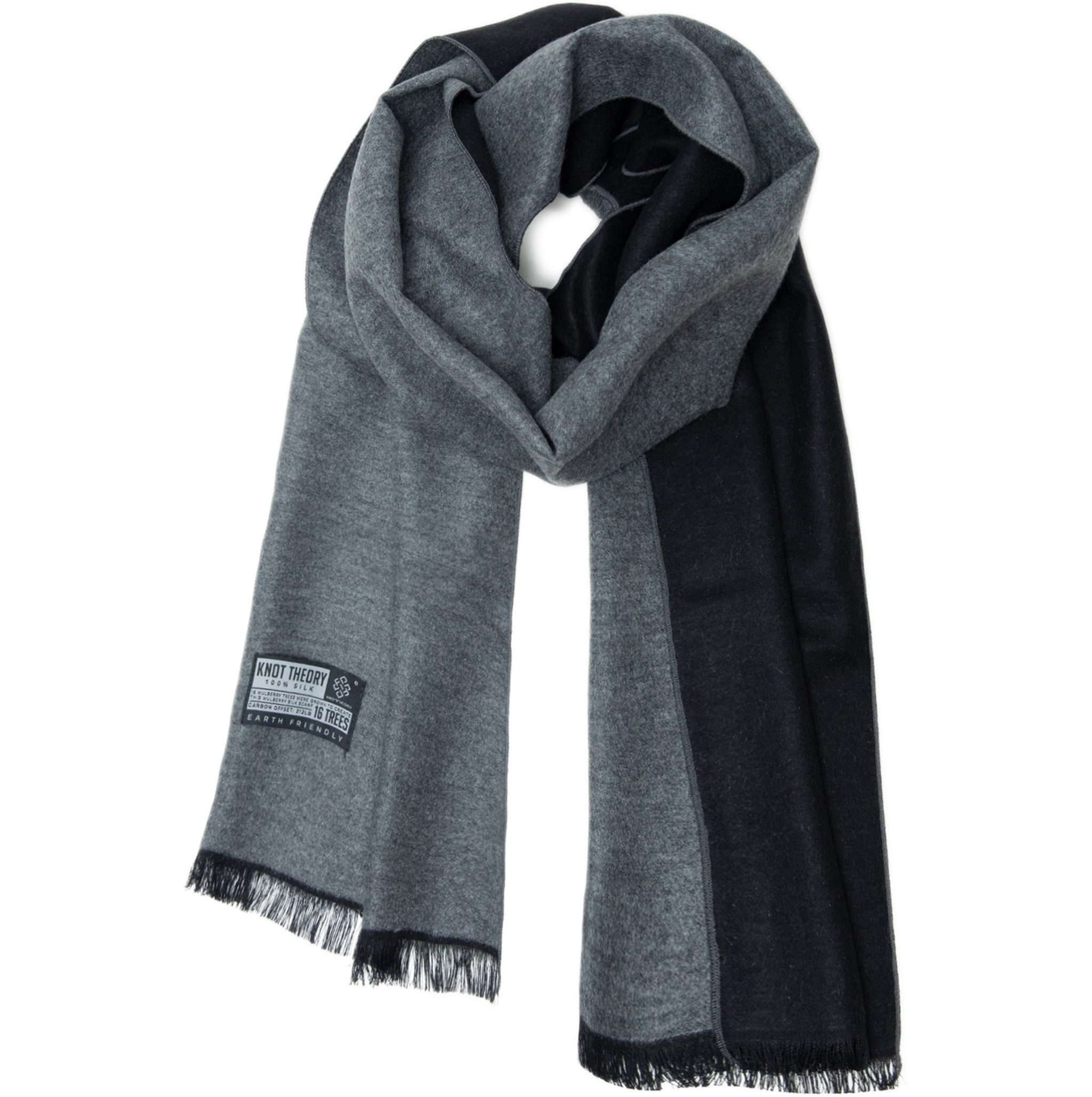 Black Grey Eco Scarf - Softer than Cashmere 100% Silk