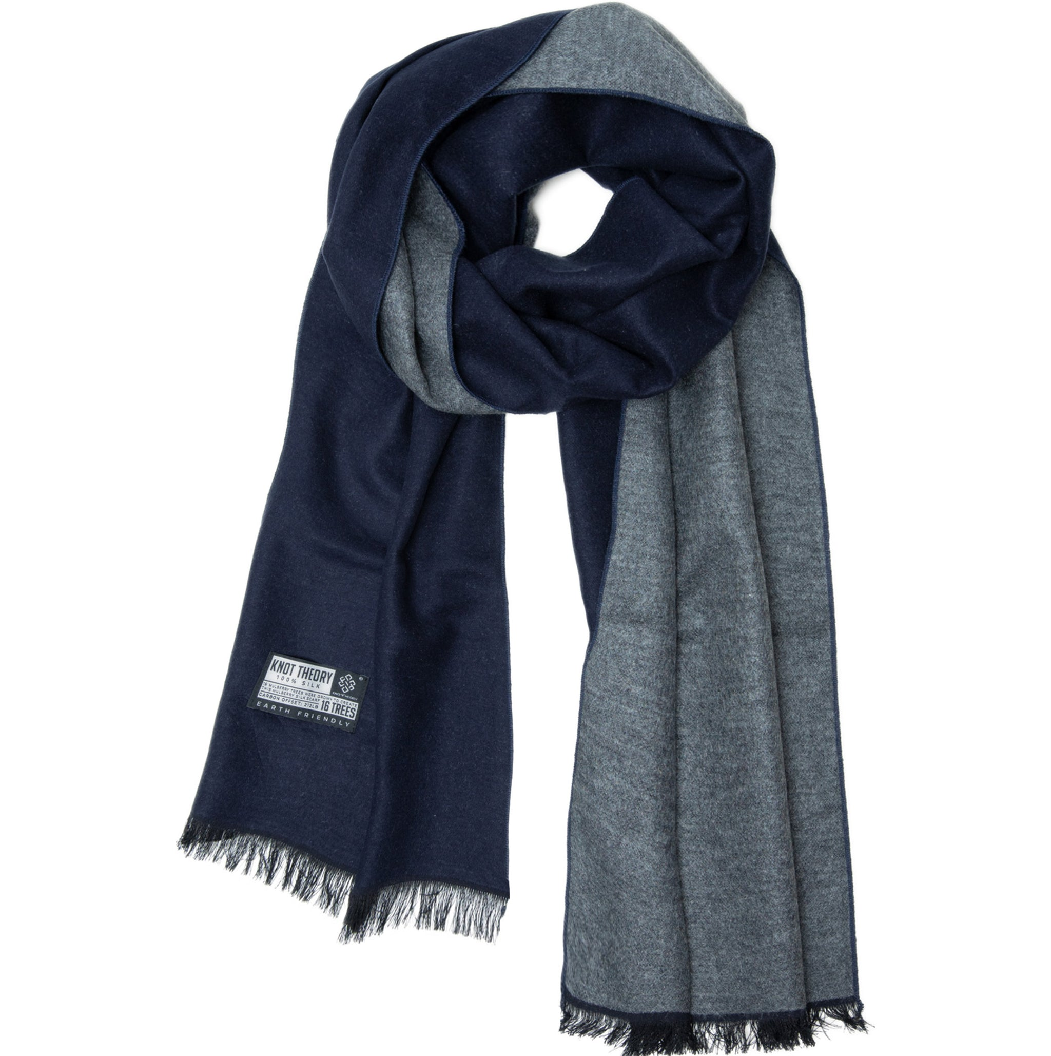 Blue Grey Eco Silk Scarf - Softer than Cashmere 100% Silk
