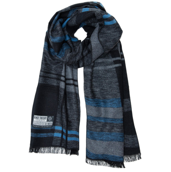 Blue Grey Tartan Eco Winter Scarf - Softer than Cashmere - 100% Silk
