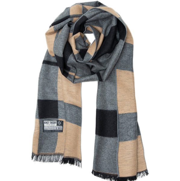 Camel Tartan Winter Scarf - Softer than Cashmere 100% Silk
