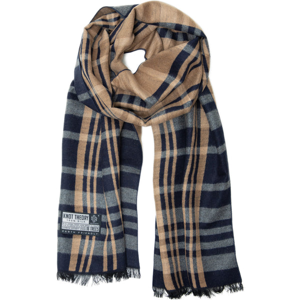 Blue Camel Tartan Winter Scarf - Softer than Cashmere 100% Silk