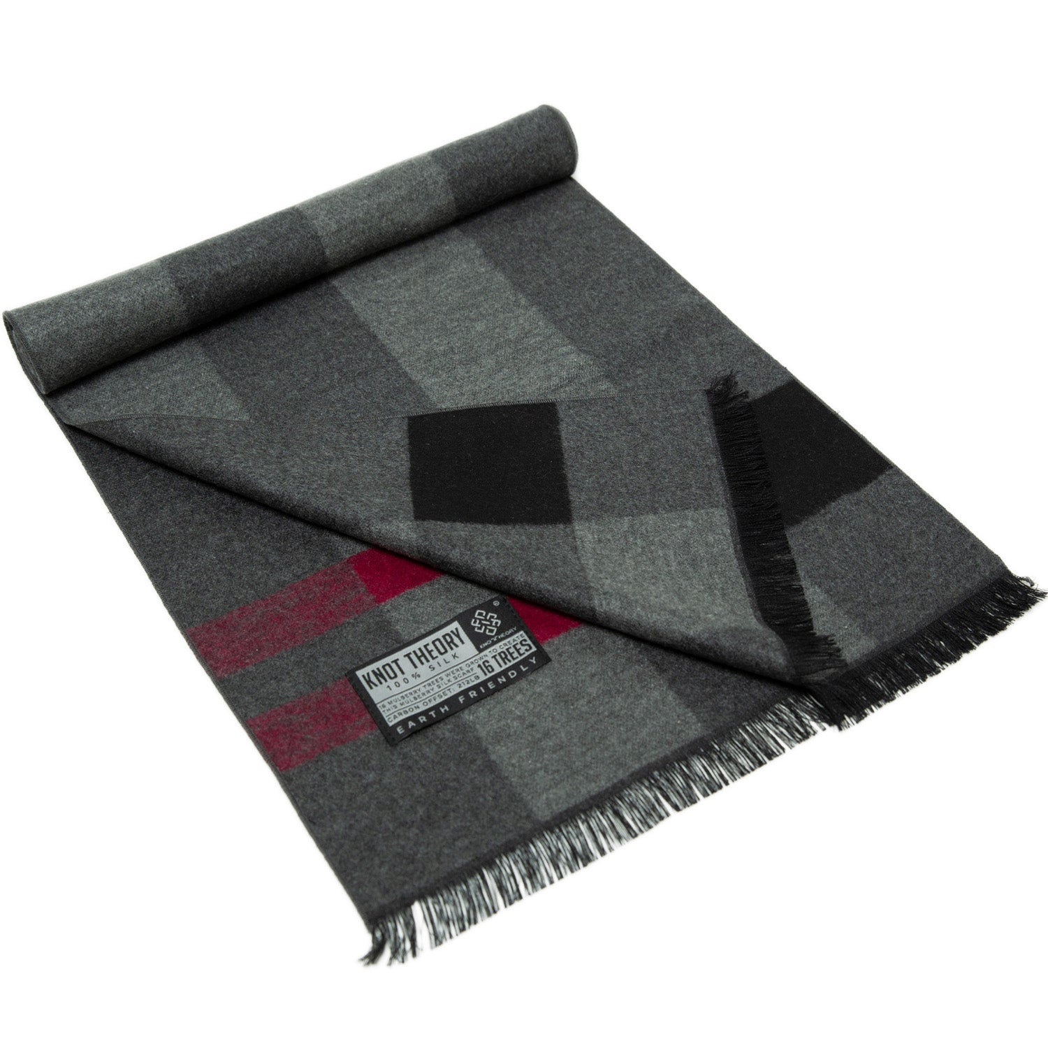 Red Grey Tartan Eco Scarf - Softer than Cashmere 100% Silk