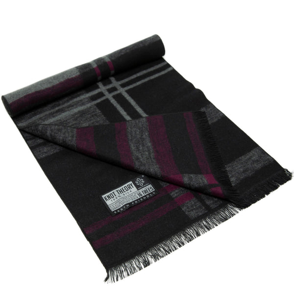Purple Grey Tartan Eco Scarf - Softer than Cashmere 100% Silk