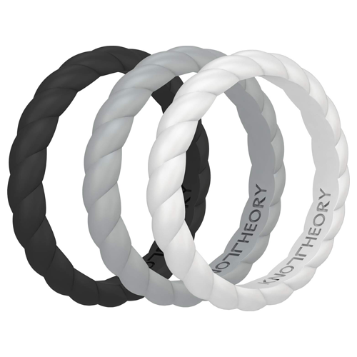 Serenity Stackable Silicone Wedding Rings for Women - 3-Pack in Black, Grey, White