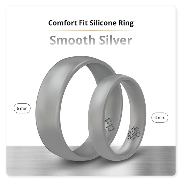 Smooth Silver Comfort Fit Silicone Wedding Ring